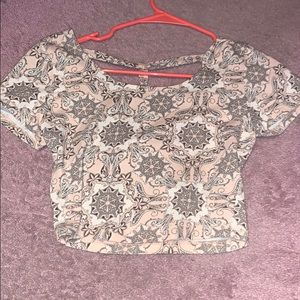 patterned crop top by charlotte russe